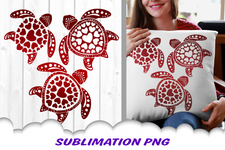 Valentines Day Sea Turtles Hearts Sublimation PNG