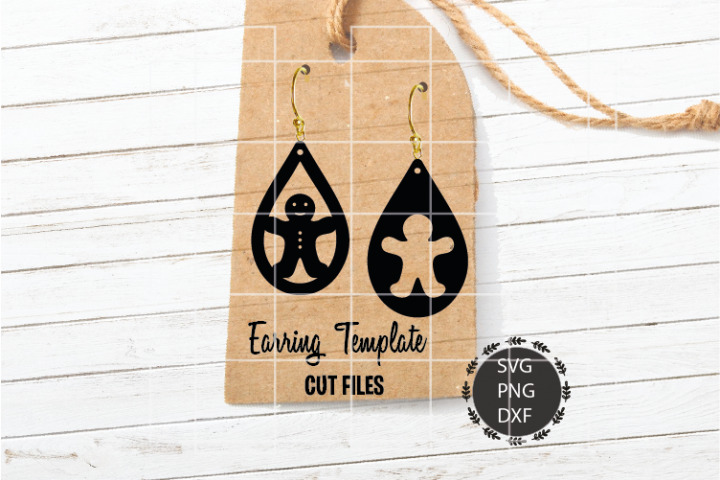 Gingerbread Man Earrings Svg, Earrings Svg, Teardrop Svg