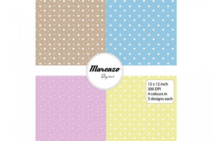 Pastel stars digital papers x 12