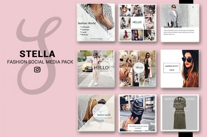 Fashion Social Media Pack, Social Media Bundle, 20 Square Social Media Templates, Instagram Template Pack, Social Media Graphics Pack