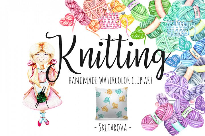 Knitting Watercolor Clip art