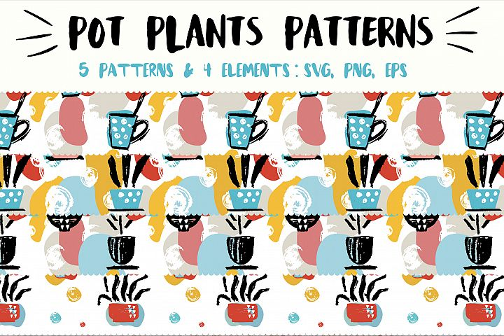 Pot plant patterns set