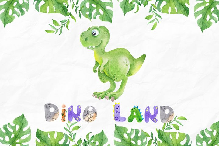 DinoLand. Cute Watercolor set