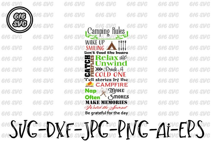 Camping Rules SVG, DXF, Ai, PNG