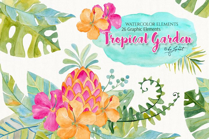 Tropical Garden Watercolor