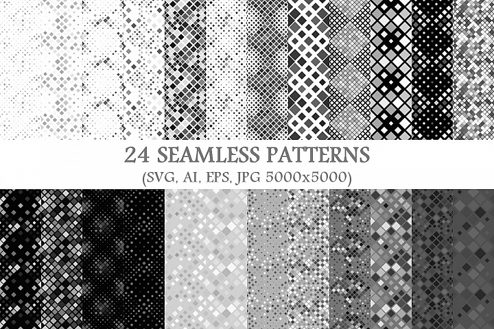 24 Seamless Grey Square Patterns