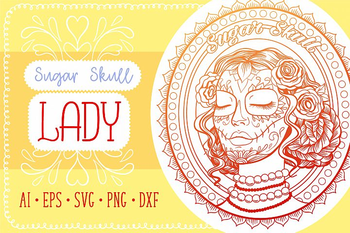 Sugar Skull Lady Coloring Page SVG cut file