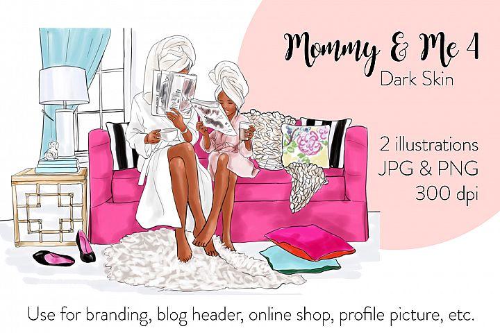 Fashion illustration - Mommy & Me 4 - Dark Skin