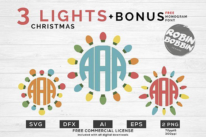 Christmas Lights SVG - Christmas Monogram SVG Bundle
