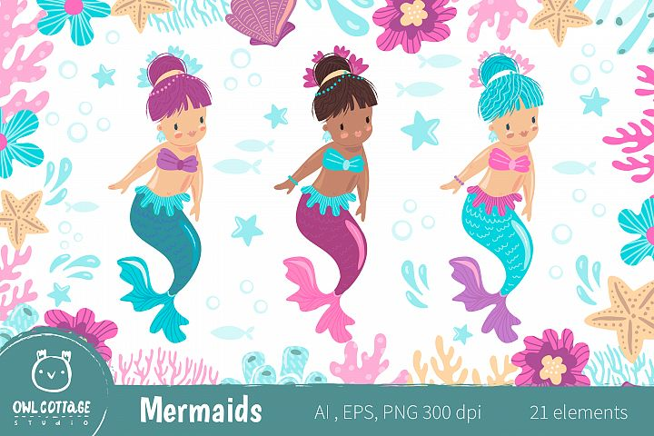 Mermaids Clipart Set , Vector and Raster Graphics