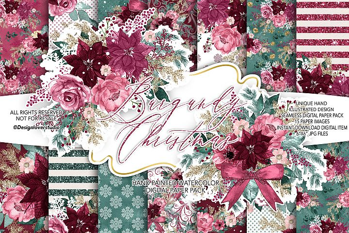 Burgundy Christmas digital paper pack I.