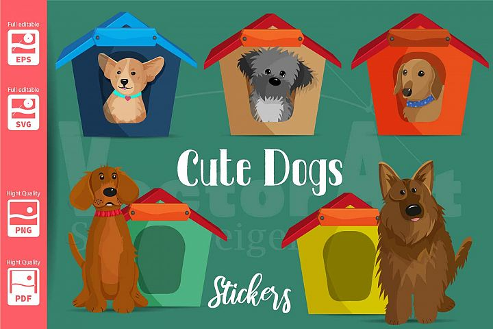 5 Dogs with house - Suitable for Print, Cut and Sublimation