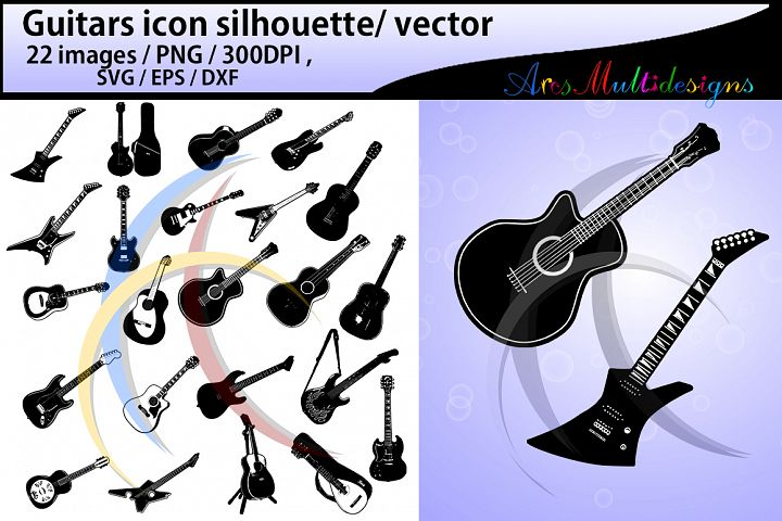 Guitars silhouette / Guitars svg / guitar icon /Guitars digital clipart / Guitars SVG / EPS / PNG / Dxf / vector icon / special set added
