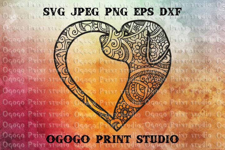 Mandala style Dog SVG, Zentangle SVG, Heart svg, Pet love