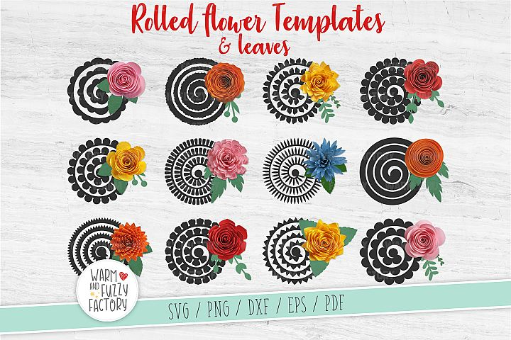 Paper flower template, Rolled flower svg, Paper flower svg