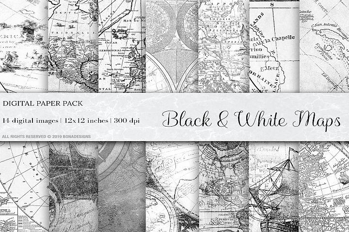 Black & White Vintage Maps, Vintage Maps Backgrounds