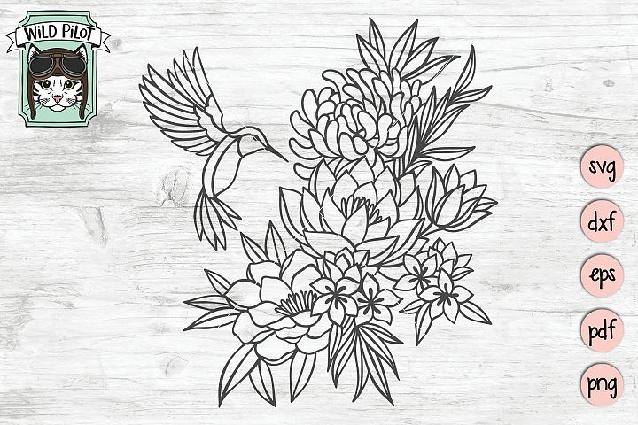 Hummingbird SVG file, Bird Cut file, Flower, Floral