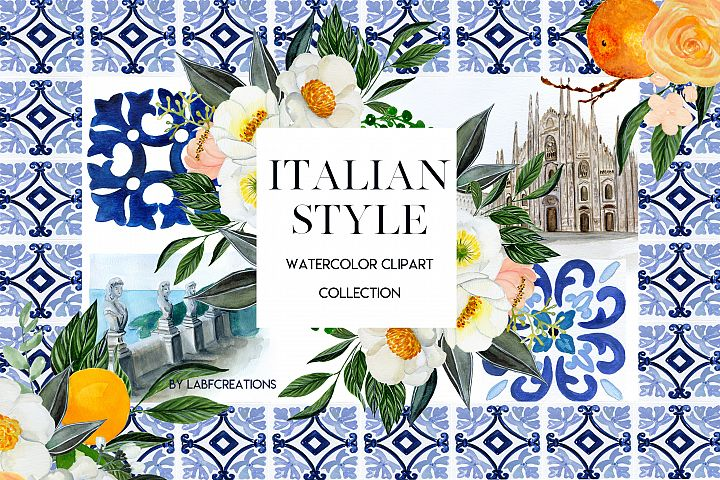 Italian Style. Watercolor clip art collection.