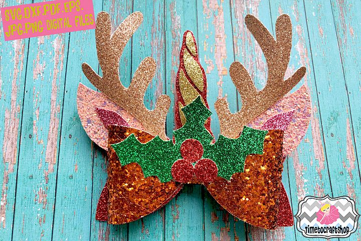 Christmas Unicorn Reindeer Antler Ears Hair Bow Template