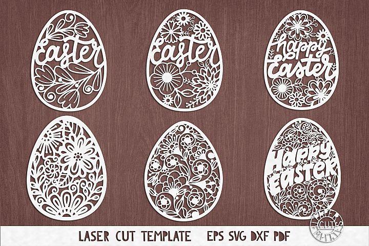SVG Set of easter eggs for laser cutting, Cricut, plotter.