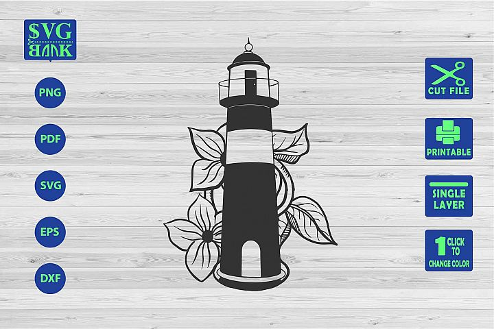 LightHouse Svg, Lighthouse with flower Cut File