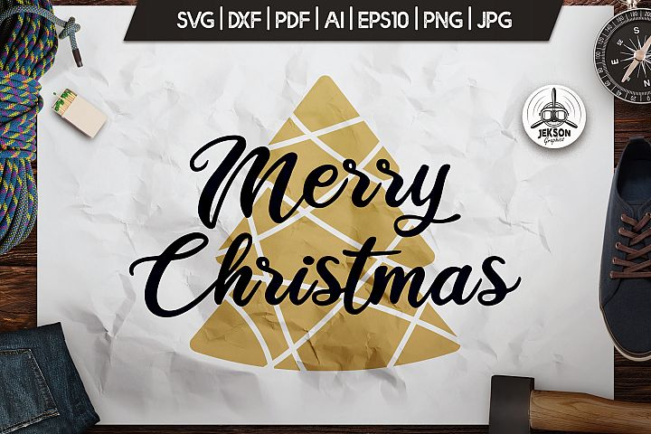 Merry Christmas T-Shirt. Vector Print, Tree SVG Tee Graphic