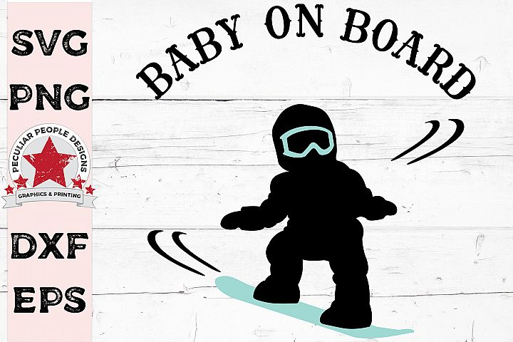 Baby On Board Snowboarder Boy Car Decal SVG Gender Reveal