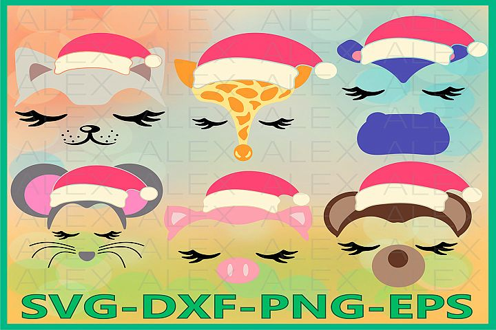 Animal Christmas SVG, Animal Face Svg, Girls Face svg