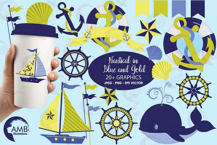 Nautical Whales clipart, graphics, illustrations AMB-518