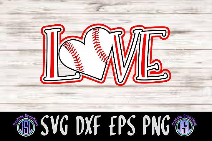 Love Baseball   SVG DXF EPS PNG   Digital Cut File Download