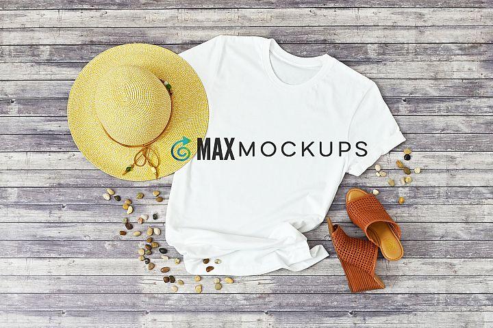 White shirt mockup women summer sun hat flatlay styled photo