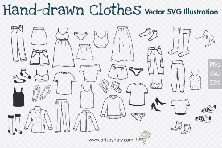 Hand-drawn Clothes Illustration Bundle. 39 SVG Vector Files.