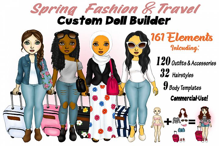 Spring Fashion &Travel Clipart DIY Customizable Paper Dolls