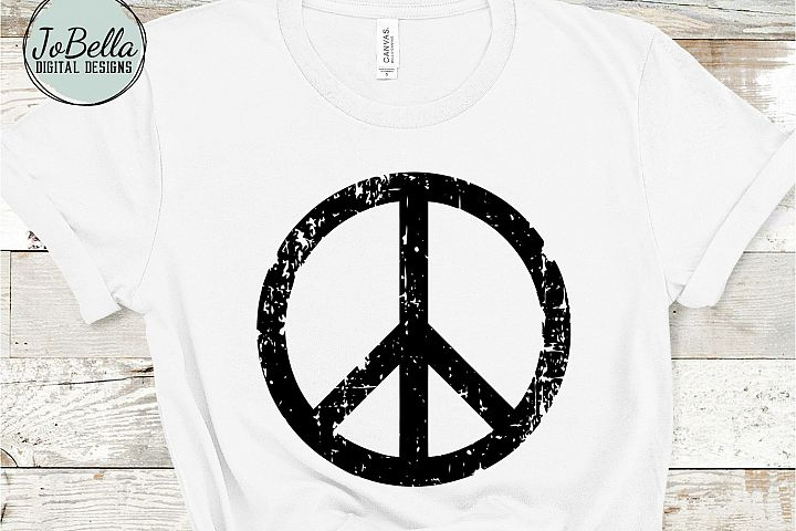 Distressed Peace Sign SVG, Sublimation PNG and Printable