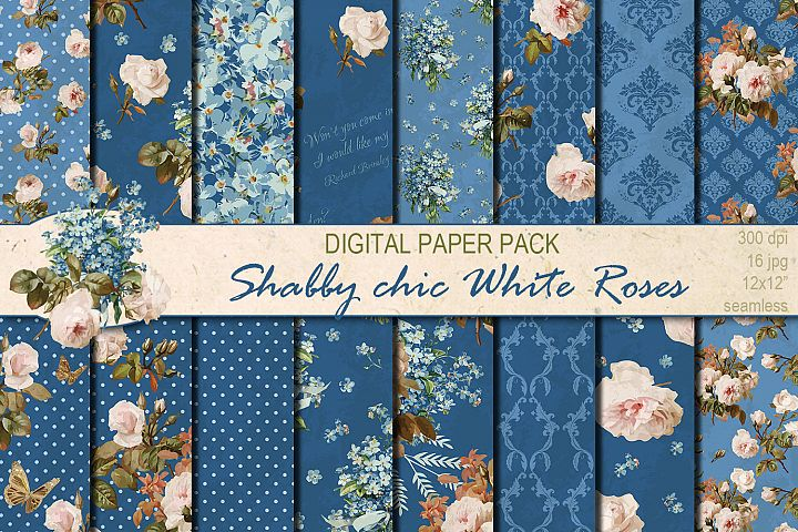 Shabby chic roses seamless patterns