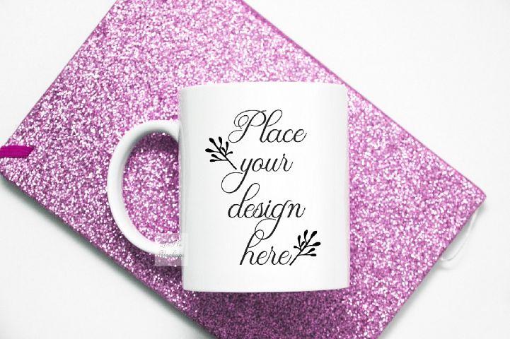 Mug mockup pink glitter flatlay sublimation cup mock up