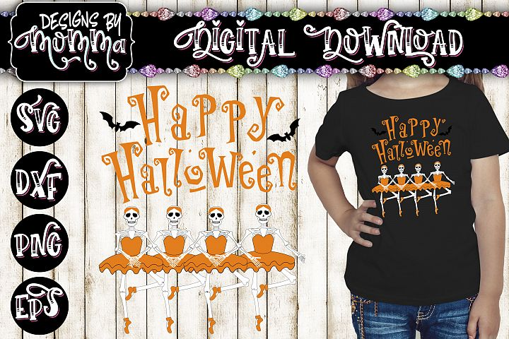 Happy Halloween Ballerina Skeletons SVG