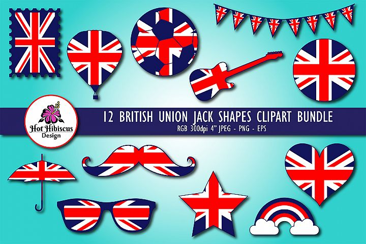 British Union Jack Shapes Clipart Bundle