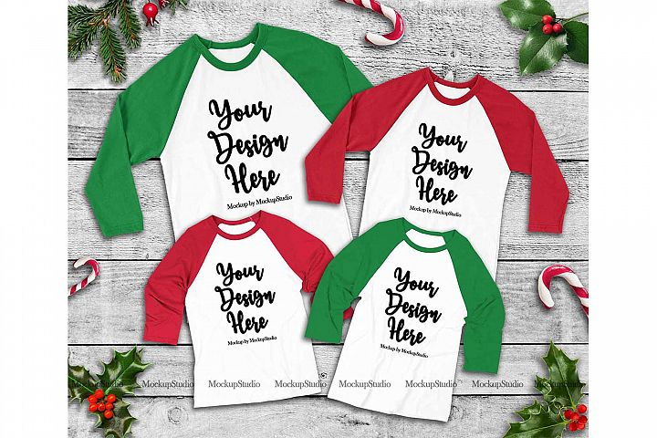 Matching Family Christmas 4 Raglans Red and Green Mockup