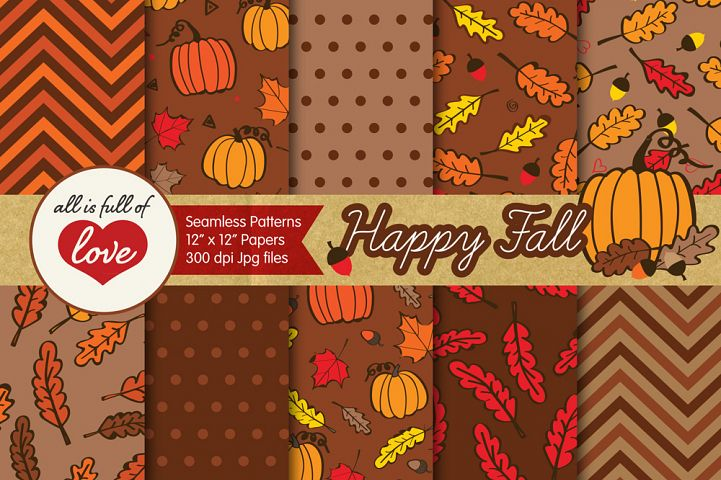 Brown Fall Digital Paper Autumn Background Patterns with acorns, leafs and pumpkins
