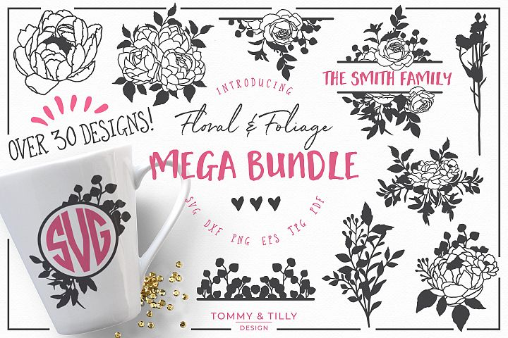 Floral Mega Bundle - SVG DXF PNG EPS JPG PDF Cut Files