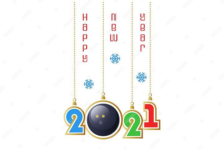2021 Happy New Year. Sports greeting card. Squash.