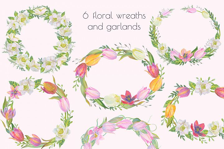 Floral Design Pack (watercolor & pastel) - Free Design of The Week Design 5