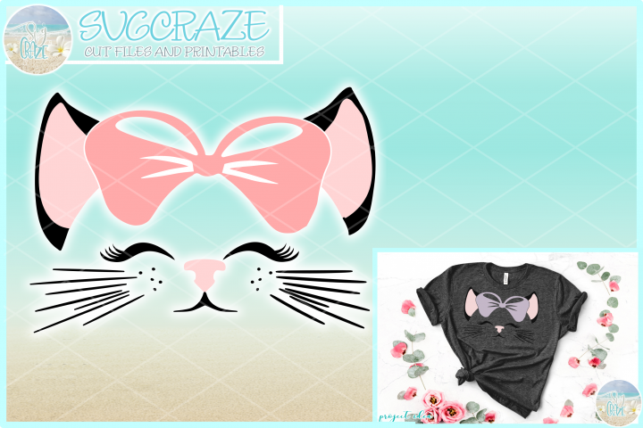Kitty Cat Face with Bow SVG Dxf Eps Png PDF Files