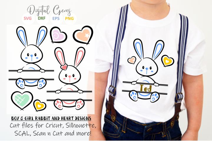 Split Bunny Rabbits, Easter SVG / DXF / EPS / PNG files