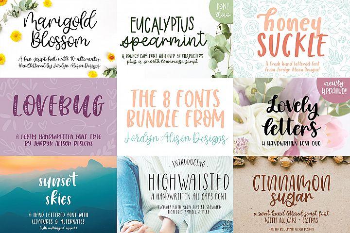 8 Hand Lettered Fonts Bundle, Script Monoline Skinny Sans