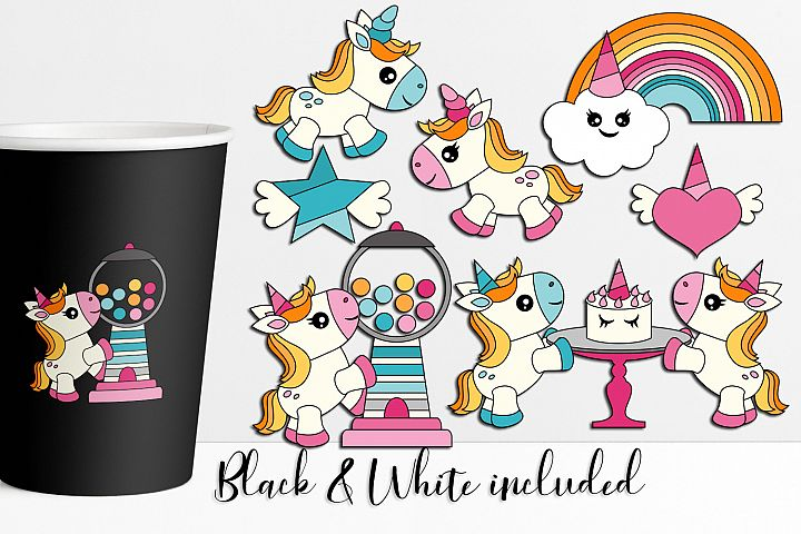 Unicorn Party Illustrations and Graphics