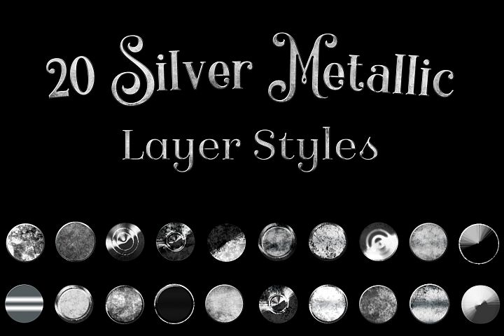 20 Silver Metallic Layer Styles for Photoshop