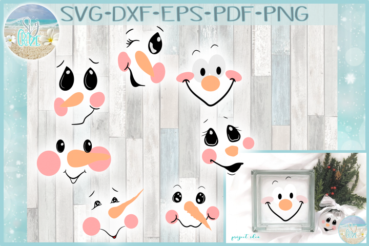Snowman Face Bundle SVG Dxf Eps Png PDF Files for Cricut example