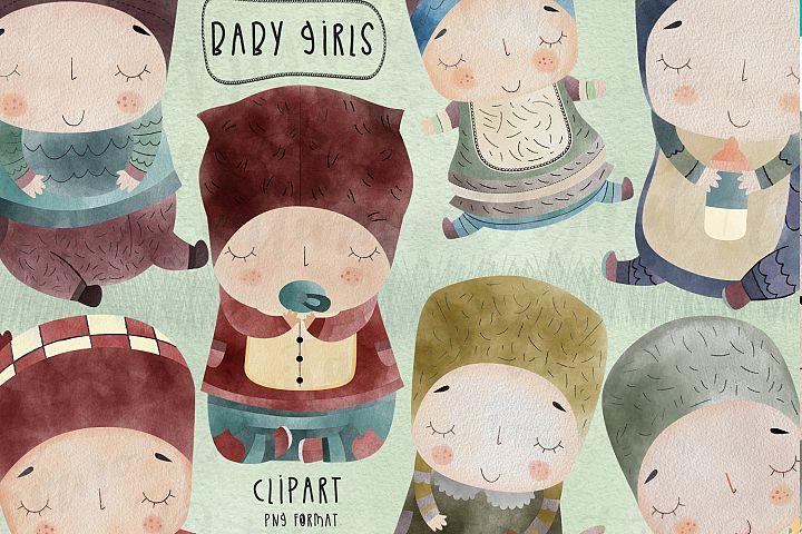 Watercolor Baby girl digital clipart, png format